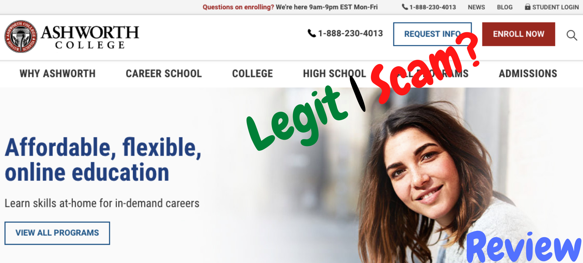 Is Ashworth College a scam? Ashworth College Homepage