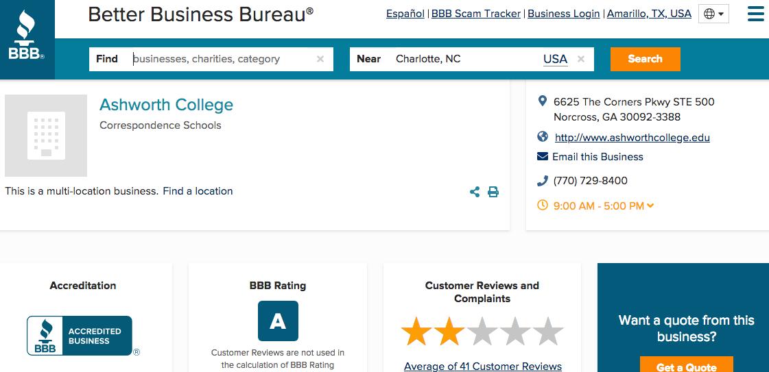 Ashworth College: Better Business Bureau an A rating
