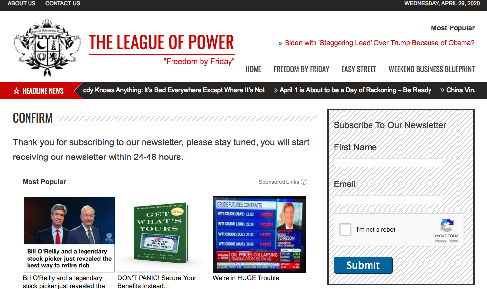 league of power newsletter subscriptions