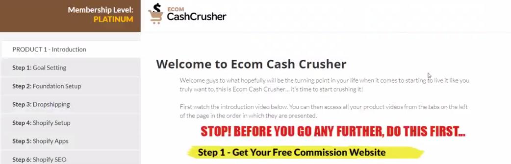 ecom cash crusher member's area