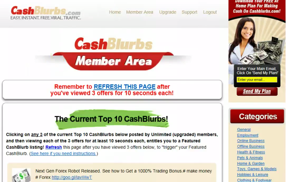 Cashblurbs Member's Area