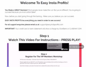 Easy Insta Profits member's area.