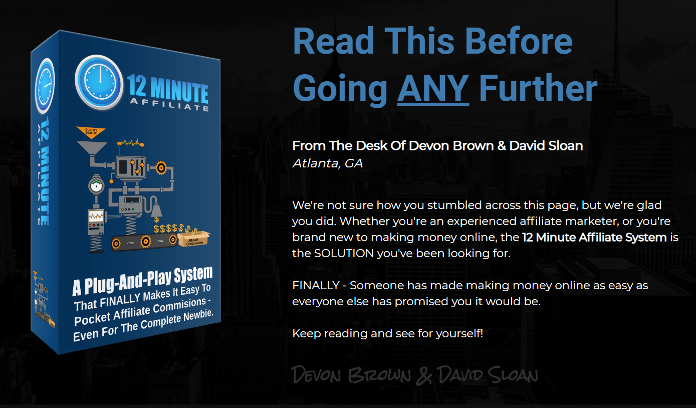 12 Minute Affiliate System Affiliate Marketing Buy Now