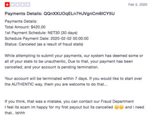 Influencer Cash: Payment cancelled