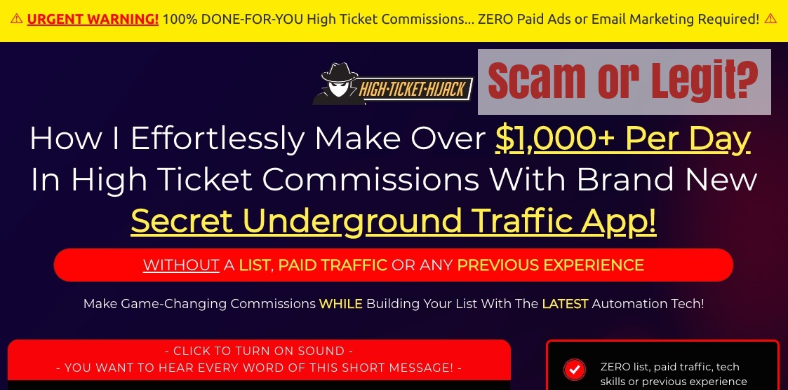 Is high ticket hijack a scam: Ugly Truths