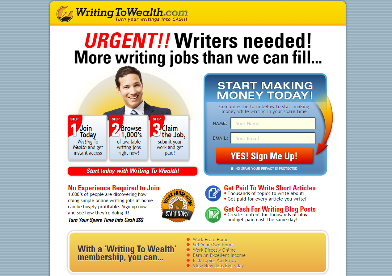 writing to wealth scam