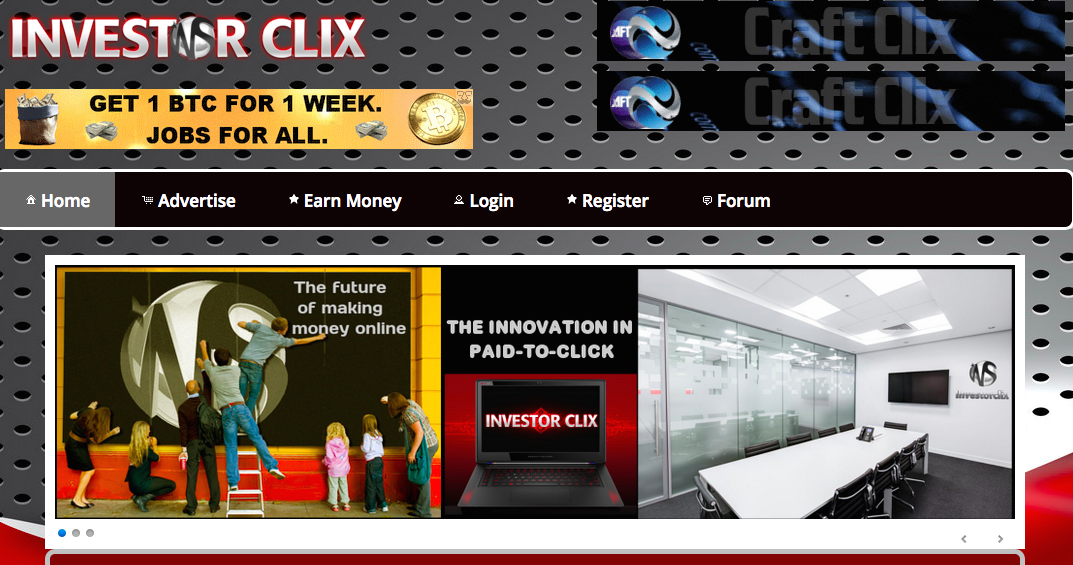 Investorclix homepage