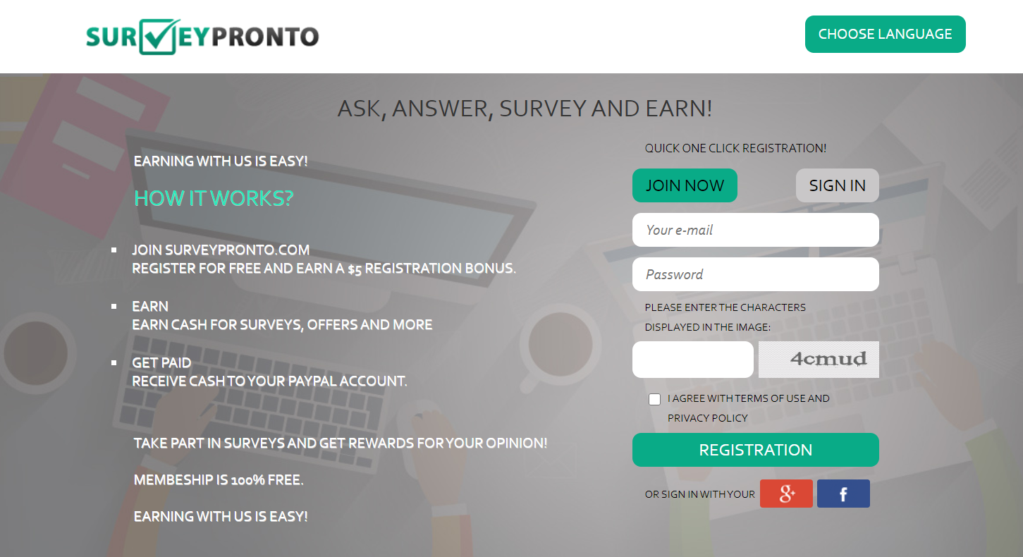 survey pronto website