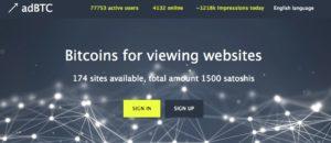 AdBTC Landing Page