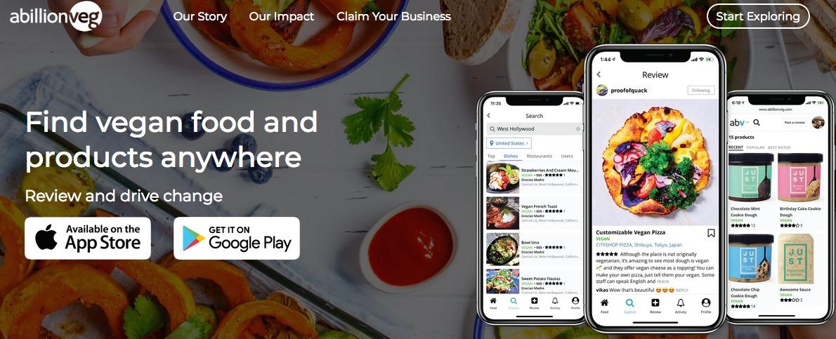 Abillionveg App landing page