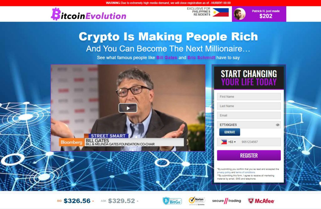 bitcoin evolution front page