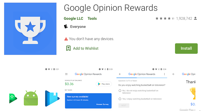 Google Opinion Rewards Home page