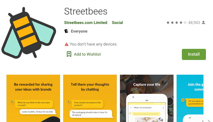 Streetbees Home page