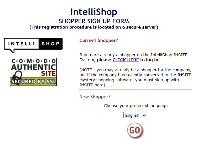 IntelliShop signup
