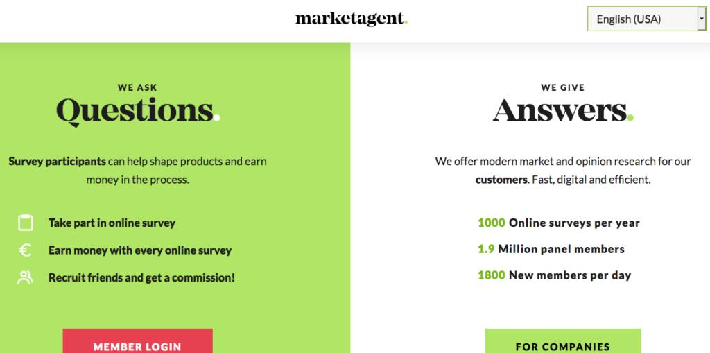 Marketagent survey homepage