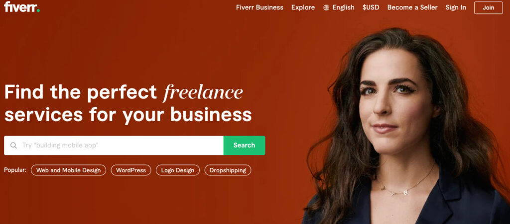 Fiverr Home Page