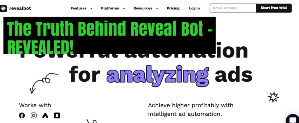 Reveal Bot Landing Page