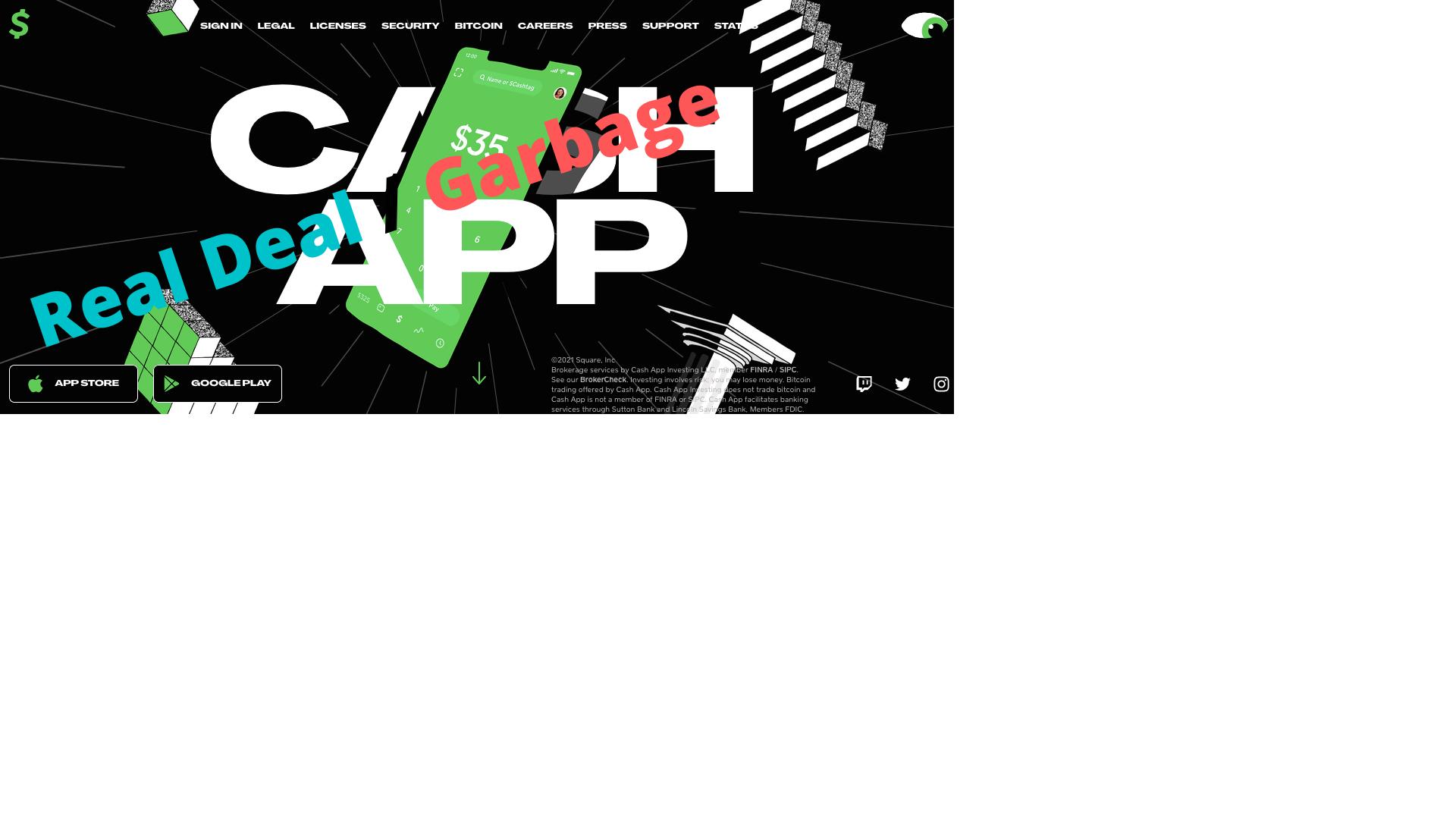 Cash App Home page